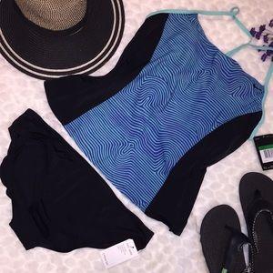 New Nike Sporty Wave Print Tankini Panty Swimsuit